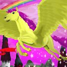 Pink Pegasus zooming past a Castle Rainbow and Cat by moonbug