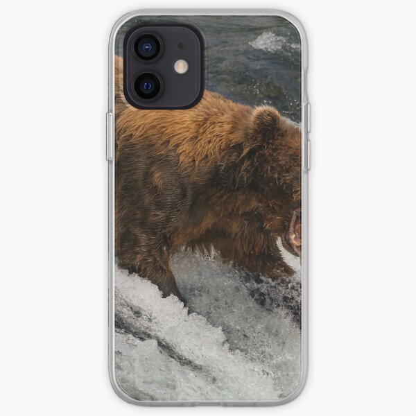 Bear about to catch salmon in mouth iPhone Soft Case