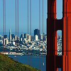 Iconic San Fransisco - Downtown Framed by Red Steel by Georgia Mizuleva
