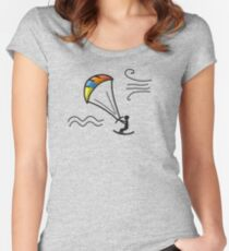Kiteboarding, sketch for your design Women's Fitted Scoop T-Shirt
