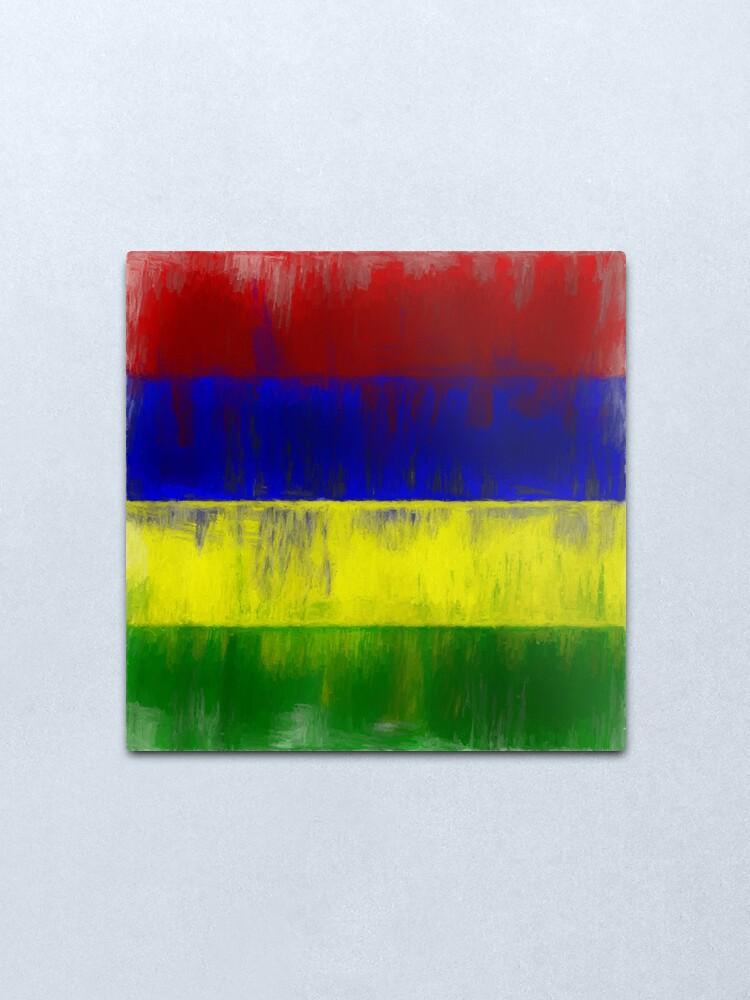 Alternate view of Mauritius Flag Reworked No. 1, Series 2 Metal Print