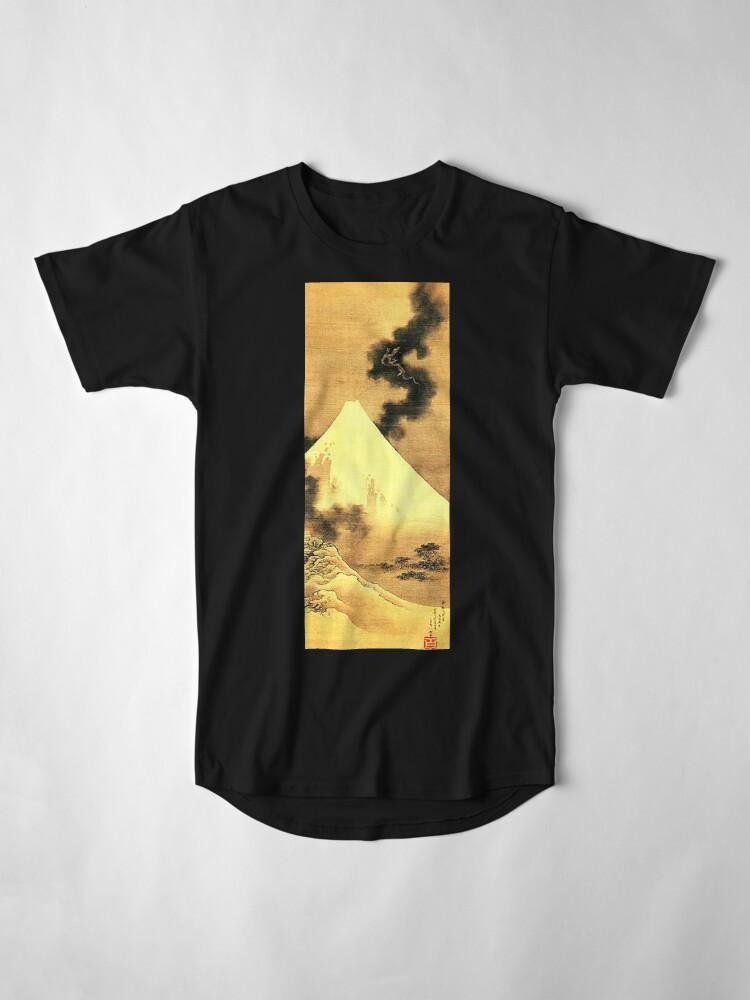 Alternative Ansicht von HOKUSAI, der Drache des Rauches, der vom Fujisan entgeht Longshirt