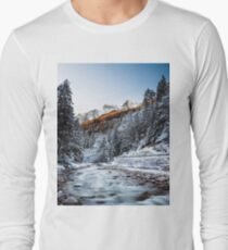 Autumn and winter river, forest and mountains T-Shirt