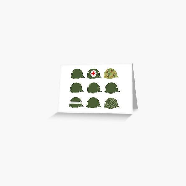 US Army Helmets WW2 Greeting Card