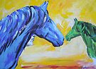 Green And Blue Horse by Juhan Rodrik