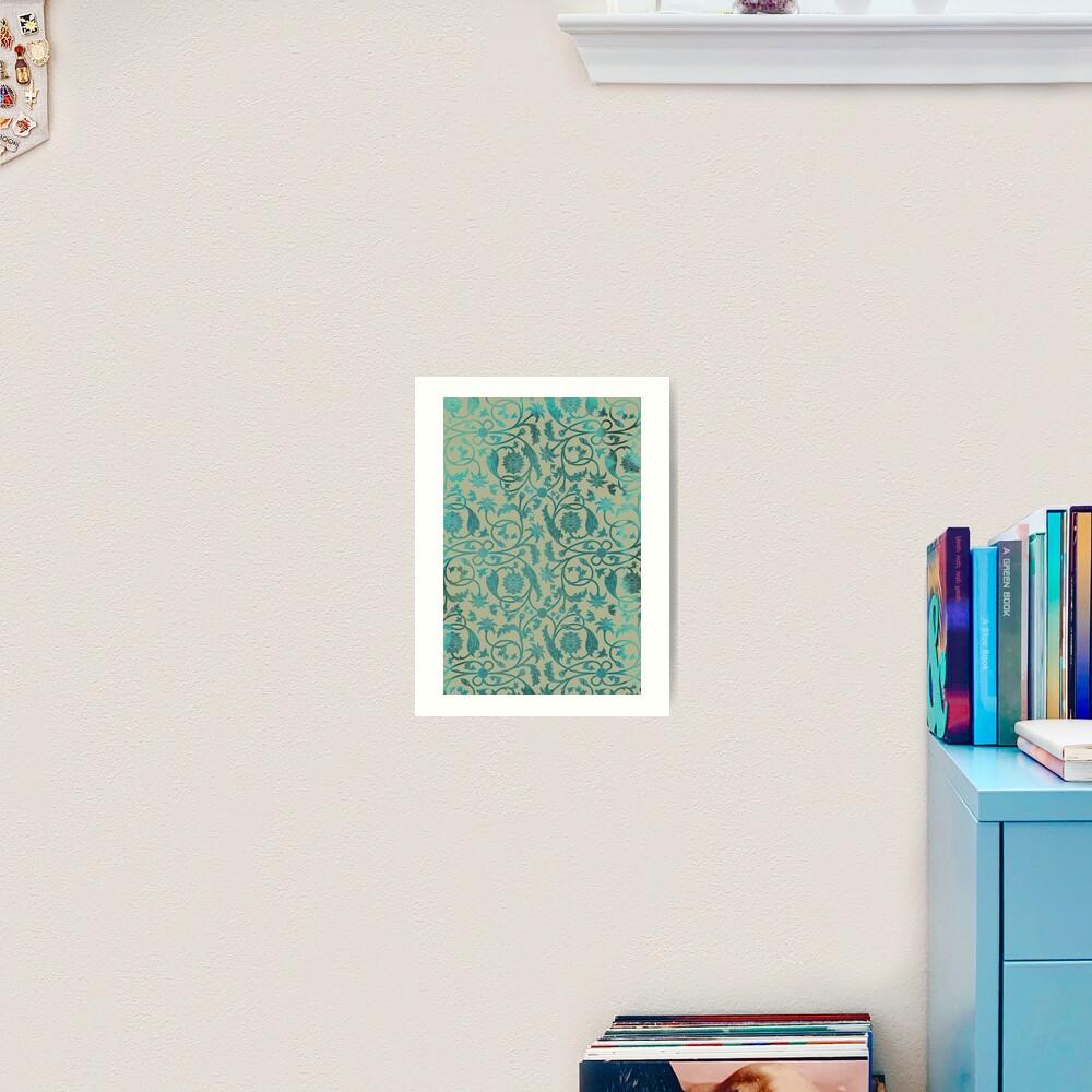 Blue Lotus Pattern  Art Print