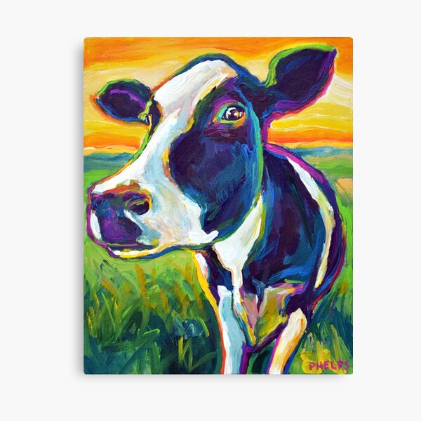 Colorful FARM COW by Robert Phelps Canvas Print