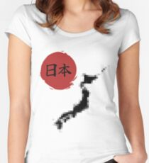 Funny Pixelated Japan Women's Fitted Scoop T-Shirt