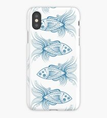 Stylized patterned smiley fish iPhone Case/Skin