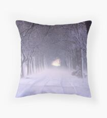Snowy Winter Alley in Park Throw Pillow
