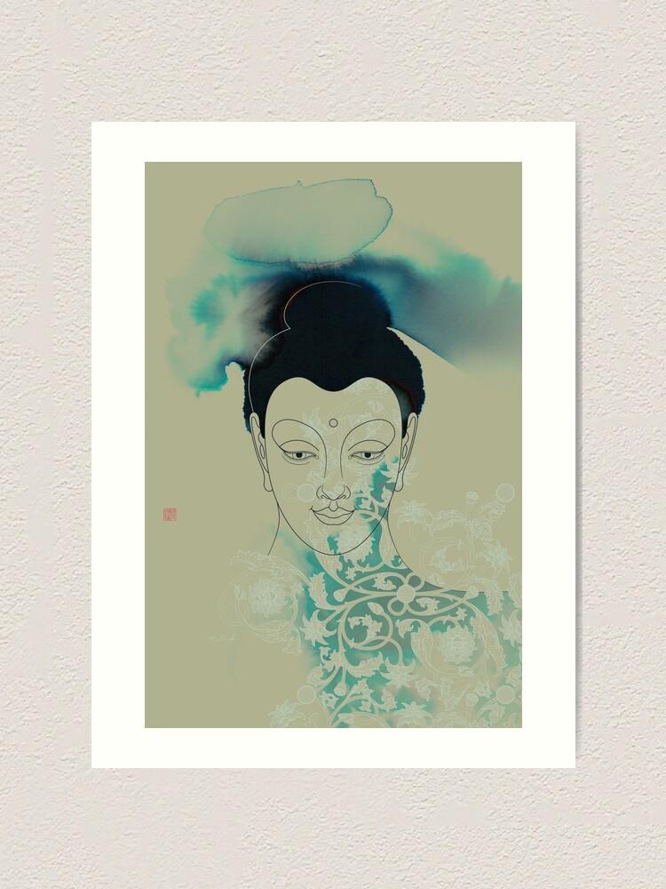 Alternate view of Blue Gautama Buddha Art Print