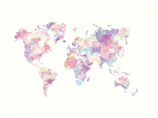 Colorful World Map Art.Colorful World Map Art Prints By Dark Happiness Redbubble