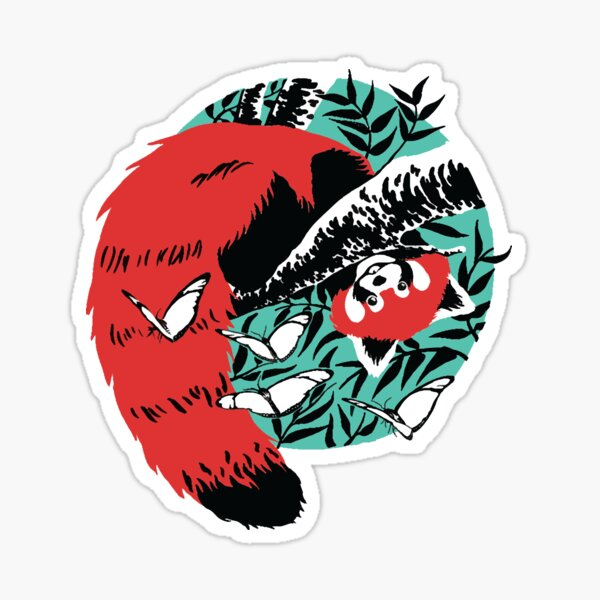 panda rouge Sticker
