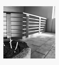 Concrete Ashtray Close Up Cigarette Butts  Photographic Print