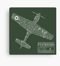 P-51 Mustang Typography Design Canvas Print
