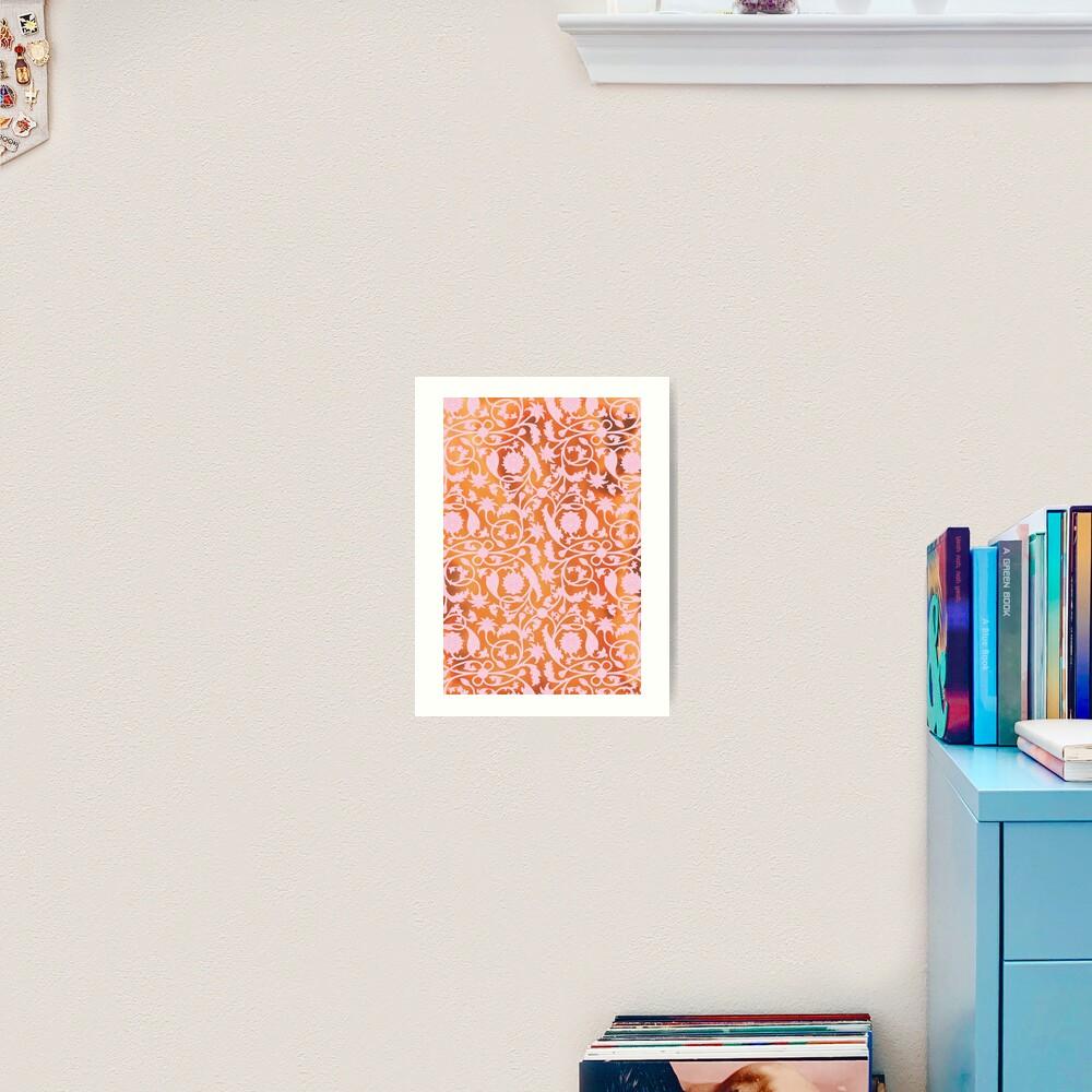 Pink Lotus Pattern Art Print