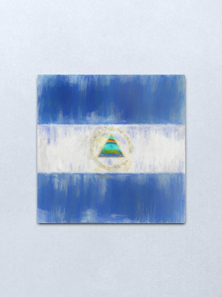 Alternate view of Nicaragua Flag Reworked No. 1, Series 2 Metal Print