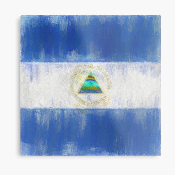Nicaragua Flag Reworked No. 1, Series 2 Metal Print