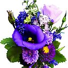 Purple Bouquet with Lilies and Delphinium by Susan Savad