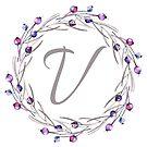 Monogramm-Buchstabe V | Personalisiert | Aquarell Design von PraiseQuotes