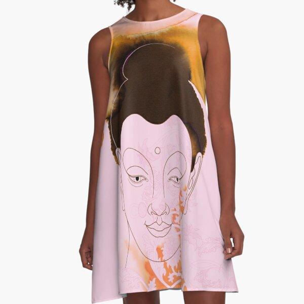 Pink Gautama Buddha A-Line Dress