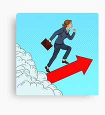 Pop Art Successful Business Woman Walking to the Top through the Clouds. Canvas Print
