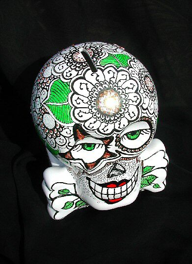 Delilah, Day of the Dead Original Hand Painted Ceramic by bajidoo