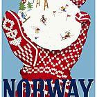 Norwegen, Reise Ski Poster von BokeeLee