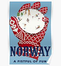 Norway, Travel Ski Poster Poster