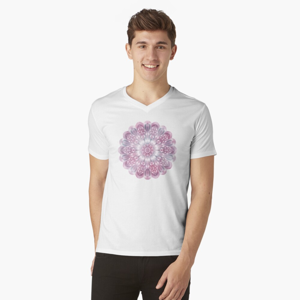 Dreams Mandala in Pink, Grey, and White V-Neck T-Shirt