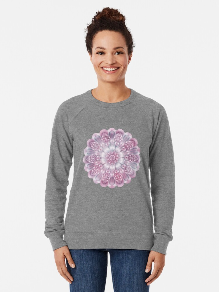 Alternate view of Dreams Mandala in Pink, Grey, and White Lightweight Sweatshirt