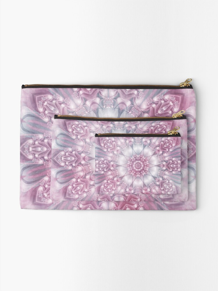 Alternate view of Dreams Mandala in Pink, Grey, and White Zipper Pouch