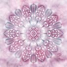 Dreams Mandala in Pink, Grey, and White by Kelly Dietrich