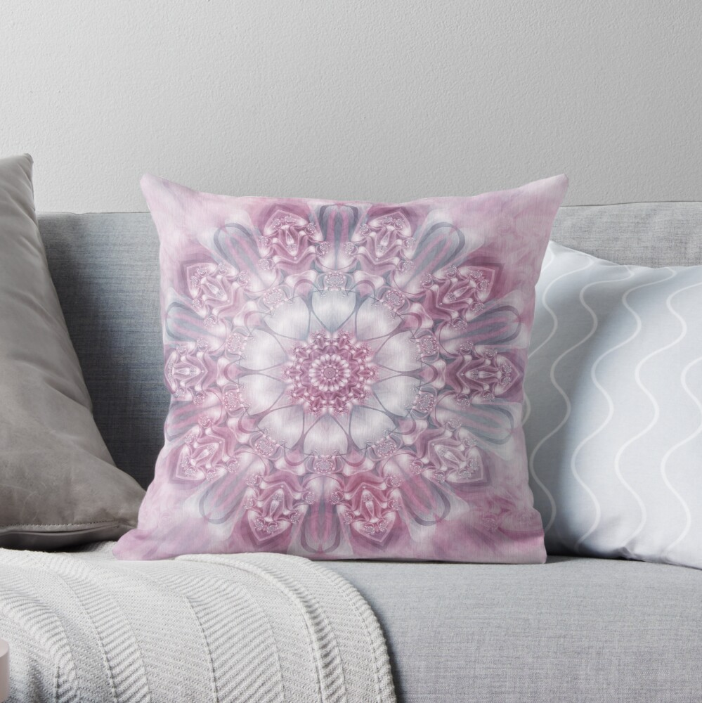 Dreams Mandala in Pink, Grey, and White Throw Pillow