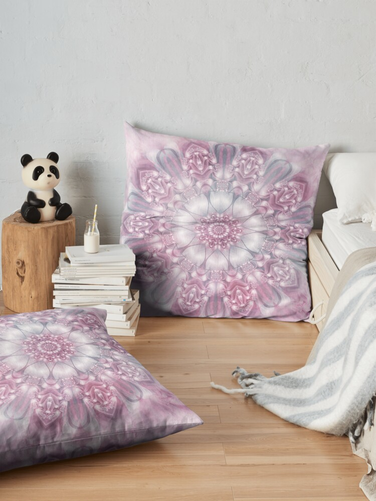 Alternate view of Dreams Mandala in Pink, Grey, and White Floor Pillow