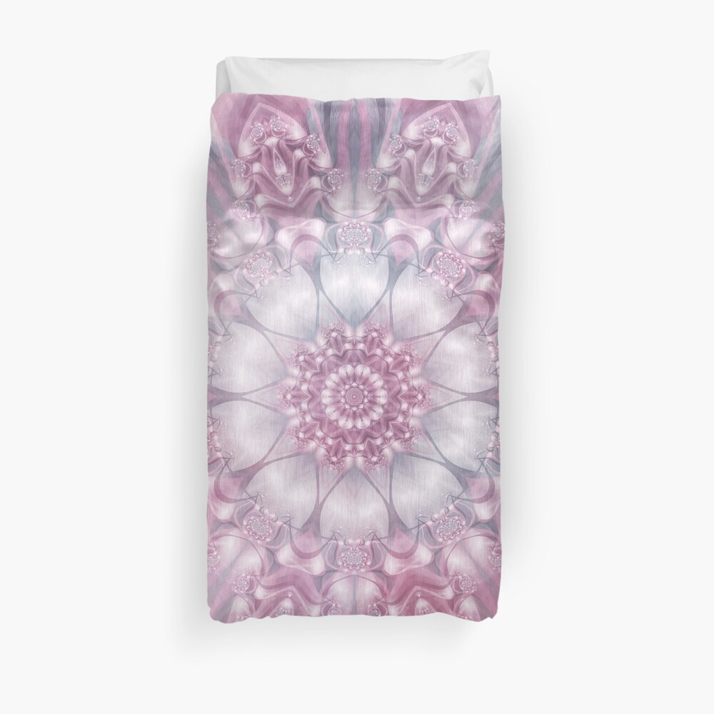 Dreams Mandala in Pink, Grey, and White Duvet Cover