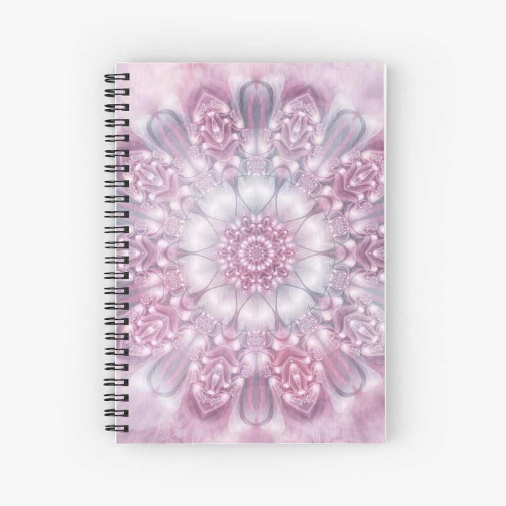 Dreams Mandala in Pink, Grey, and White Spiral Notebook