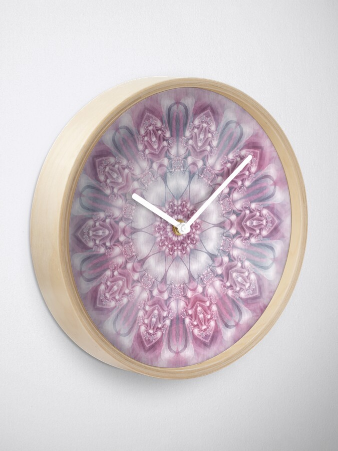 Alternate view of Dreams Mandala in Pink, Grey, and White Clock