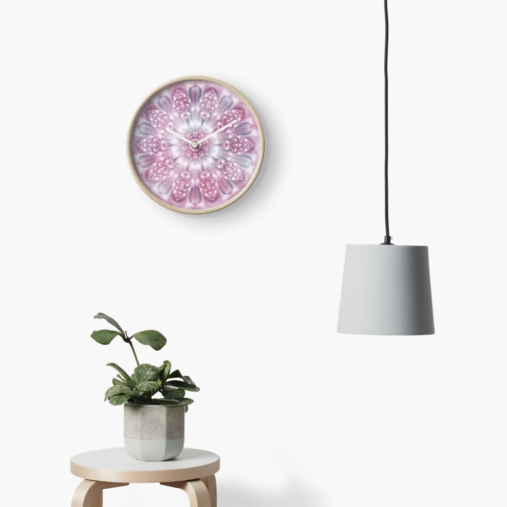 Dreams Mandala in Pink, Grey, and White Clock