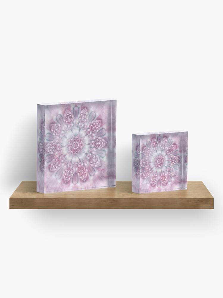 Alternate view of Dreams Mandala in Pink, Grey, and White Acrylic Block