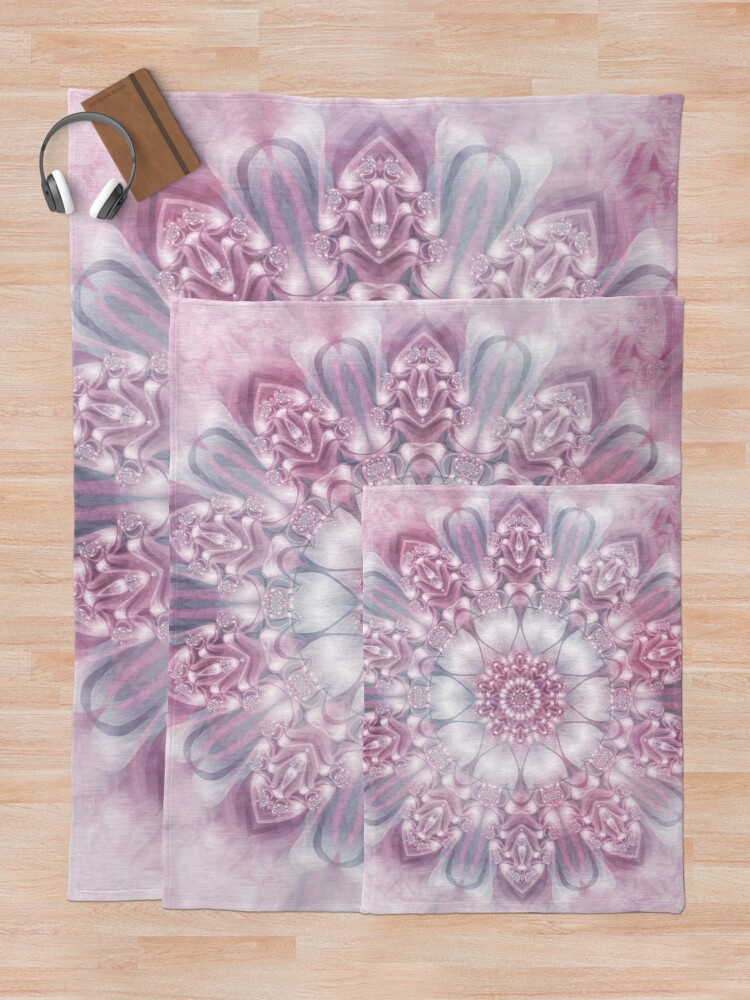 Alternate view of Dreams Mandala in Pink, Grey, and White Throw Blanket