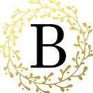 Monogramm-Buchstabe B | Personalisiert | Schwarz und Gold Design von PraiseQuotes
