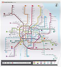 Printable Shanghai Subway Map.Shanghai City Map Posters Redbubble