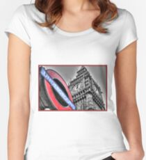 London Big Ben and Underground sign Women's Fitted Scoop T-Shirt