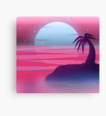 Vaporwave Island Sunset Canvas Print