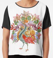 Botanical Watercolor Peacock  Chiffon Top