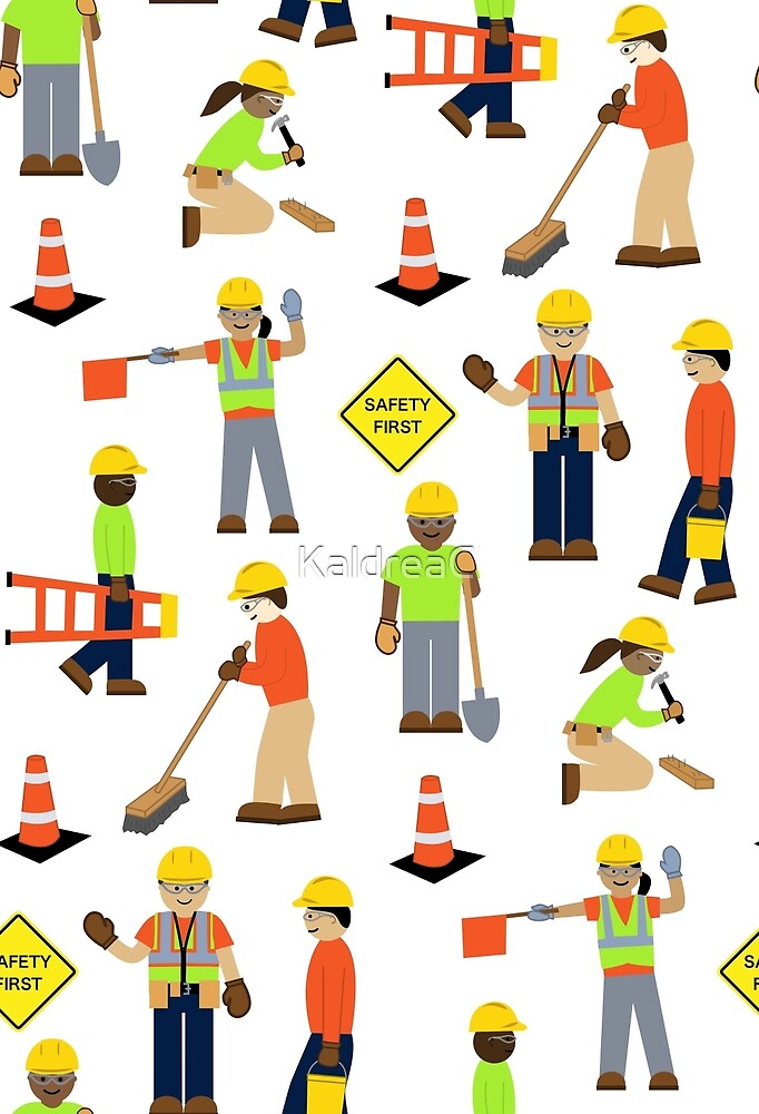 c34df241ee Safety First Construction Volunteer Workers White Background. KaldreaC