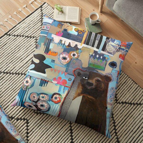 Bear in the Garden  Floor Pillow