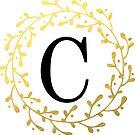 Monogramm-Buchstabe C | Personalisiert | Schwarz und Gold Design von PraiseQuotes
