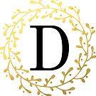 Monogramm-Buchstabe D | Personalisiert | Schwarz und Gold Design von PraiseQuotes